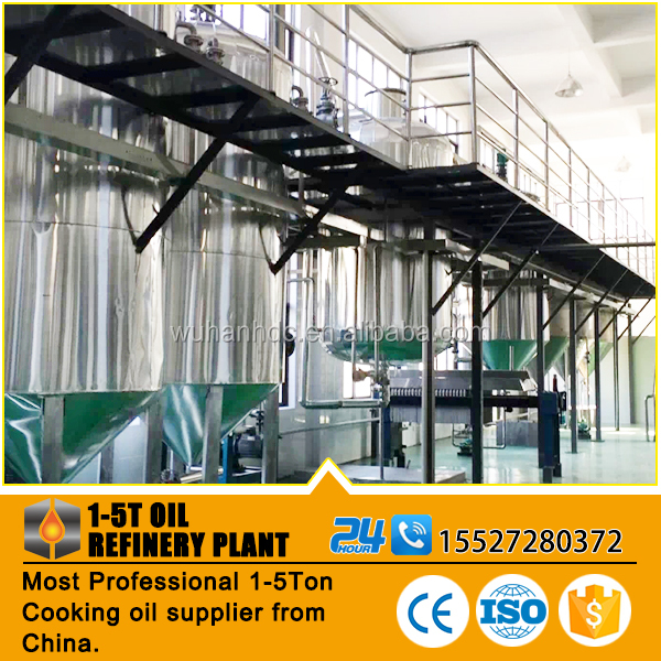 Crude peanut oil refinery equipment, small edible oil refining production line ,low consumption vegetable oil refinery plant