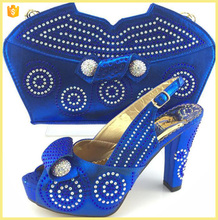 New design royal blue shoes matching bags.italian shoes nad bags for ladies ME3318