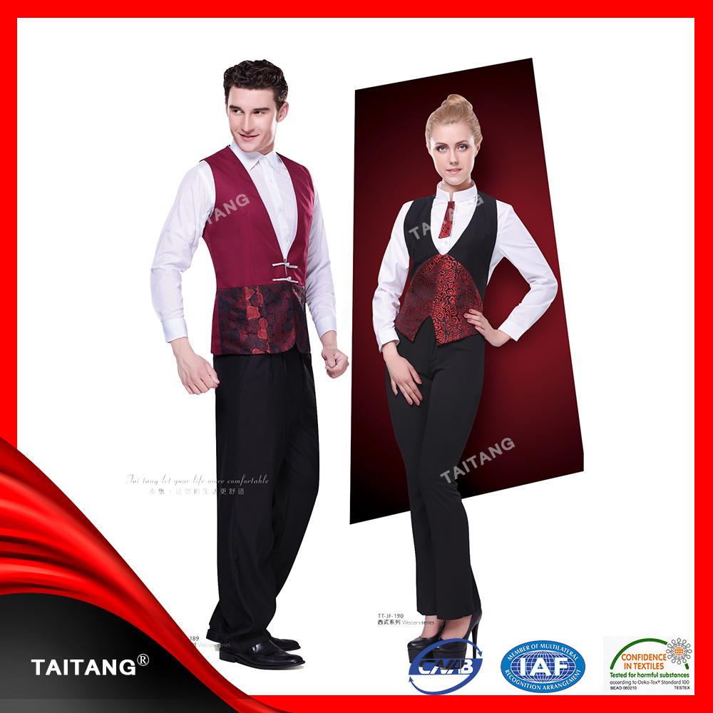 2015 Luxury Fabrics For Italian Custom Restaurant Hotel Waiter Waitress Uniform