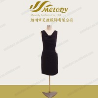 Layered side flower appliqued black wife gift pictures office dress for ladies