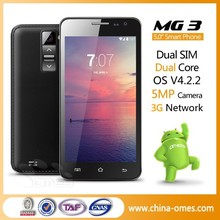 YOUR LOGO OK OMES Mobile MG3 5 inch MTK 6572 3G Dual sim cheap android cell phone 5""