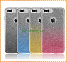 Hot selling 3 in 1 glitter gradient color tpu phone case for iphone 7 7 plus