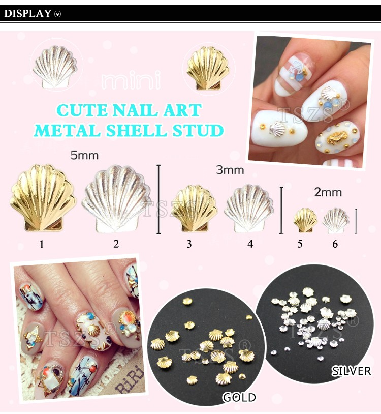 metal rim Japanese shells nail art metal conch for nails