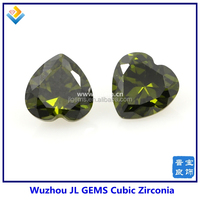 5*5mm Heart Shape olive Green Color CZ Gemstones with AAA Grade
