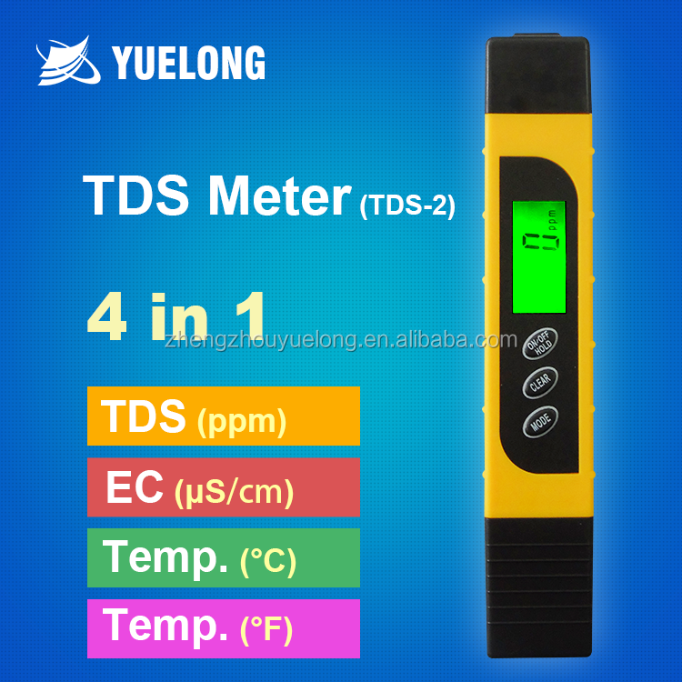 4-in-1 Pen Type Handheld Digital TDS <strong>Meter</strong> with Backlit LCD PPM Temperature EC Conductivity Tester for Drinking Water Hardness