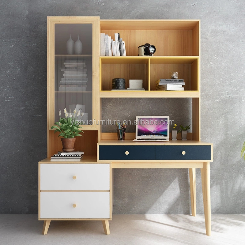 hot selling home E1 grade mdf office furniture wooden used computer desk with book shelf