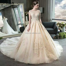 2017 Elegant Champagne Color Very Puffy Wedding Dress Gowns Online
