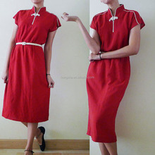 70s Plain Red Cheongsam Qipao Cotton Short Sleeve Chinese Exotic Dress With Mandarin Collar All Type Of Ladies Dresses HSD5860