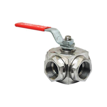 High strength stainless steel female screwed 3 way ball valve