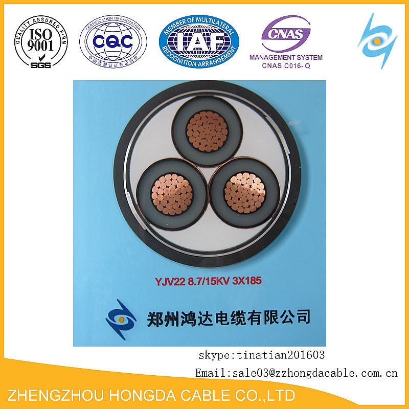 11kv 3cx185mm2 Power Cable Price Fire Resistant Copper Underground Cable