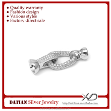 XD s1391 Sterling Silver Oval fine CZ twist necklace clasp 925 silver necklace clasp connector