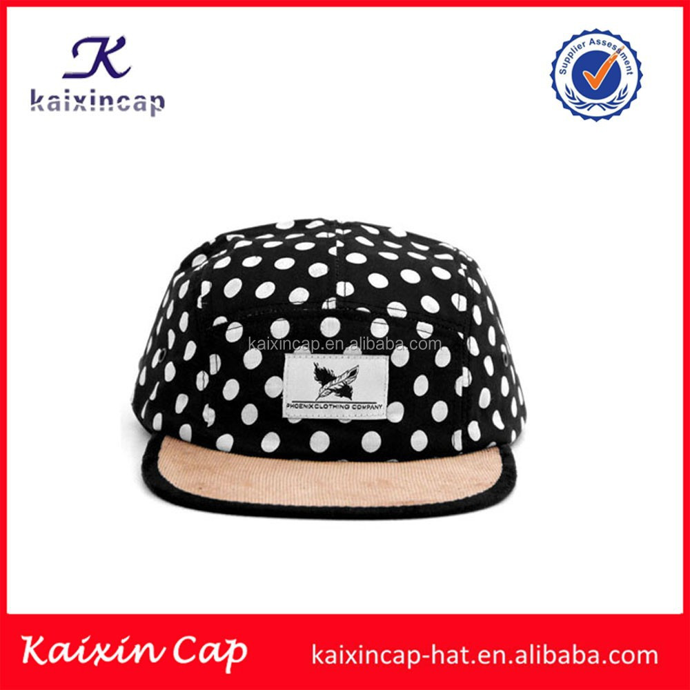 white dot printing 5 panel camp hats and caps wholesale