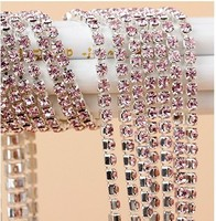 factory ss10 light rose rhinestone close cup chain,2.8mm rhinestone for cell phone case decoration