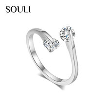 Wholesale Twin Cubic Zirconia Engagement Ring Austrian Crystals Wedding Ring