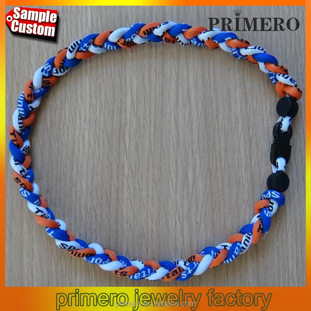 Titanium Ionic Sports Baseball Phitens Necklace inch 3-rope Tornado Braid Wholesale