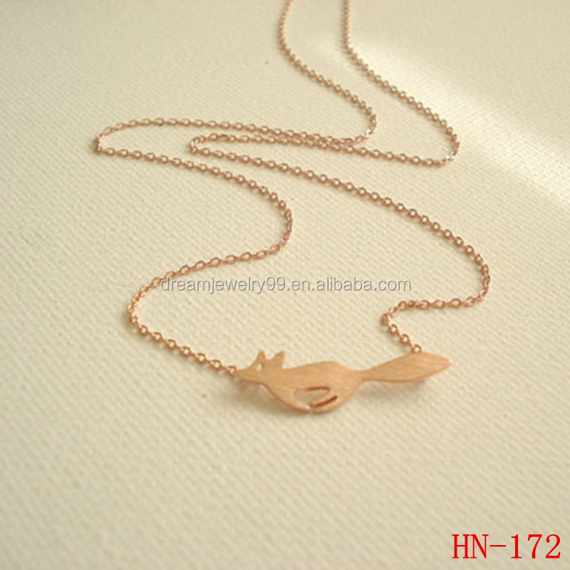 Yiwu Professional Jewelry Factory Copper Gold Plated Animal Sex Fox Charm Necklace Wholesale