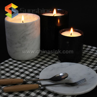 Forest Black Marble Stone Candle Holder