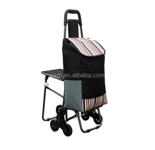 Folding Supermarket Shopping Trolley With ChairRH-FT05
