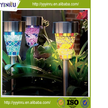 1.2V colorchanging solar Stainless Steel Solar Mosaic Garden stake light with CE ROHS certification
