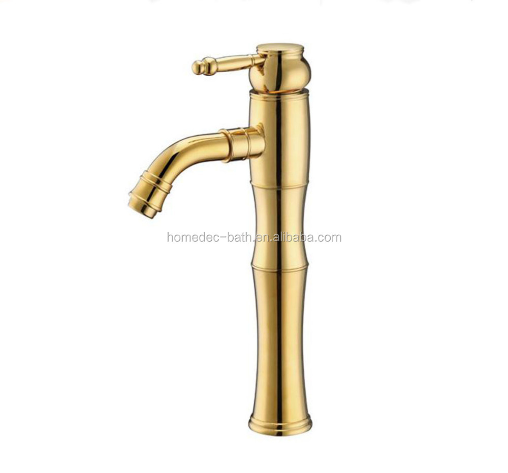 Classical Solid Brass Waterfall Gold Finish Bathroom Sink Faucet