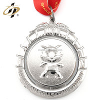 2016 best selling zinc alloy silver plated custom running medals no minimum order with ribbon