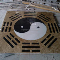 Cheap traditional Chinese style marble inlay, black and white marble flooring