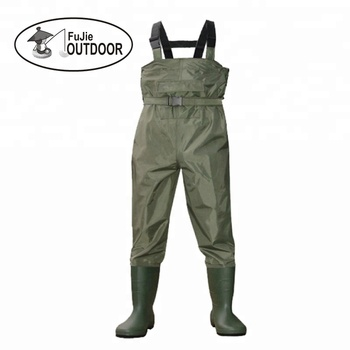 Cleated Fishing Hunting 2-Ply Nylon PVC Waterproof Boot-foot Chest Waders