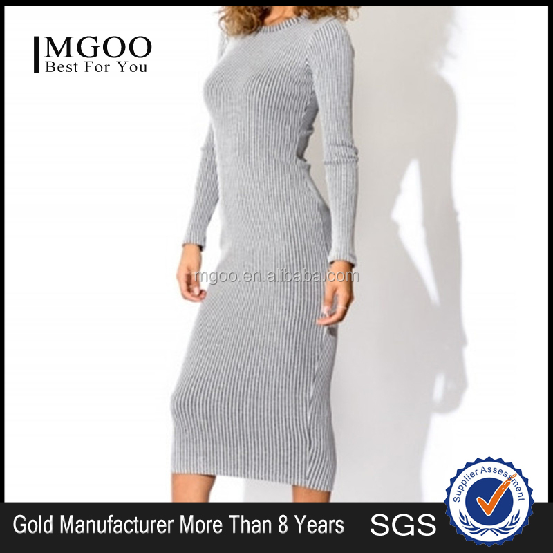 MGOO 2016 Popular Grey Sweaters Knitted Dresses Plus Size Long Sleeved Midi Bodycon Dress