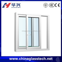 Sliding Opening Green/Grey/Blue Color Aluminum Frame Stained Glass Window