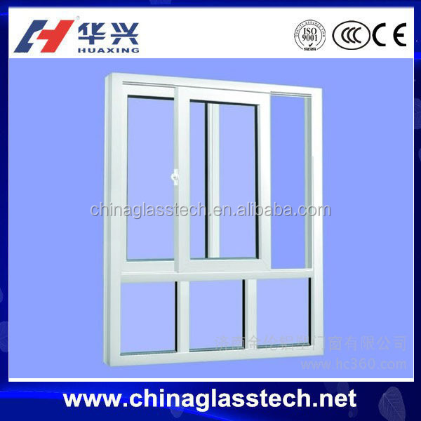 CE/ISO9001 with mosquito screen certified 3 tracks sliding U shape steel liner open sliding pvc windows