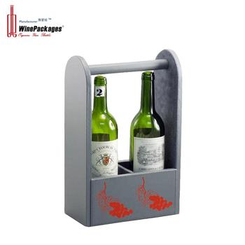 Portable two bottle leather wine display rack
