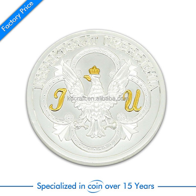 High quality custom metal zinc alloy die casting silver plated embossed eagle logo souvenir coins 50p