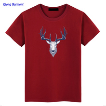 Wholesale plain heavy 100% cotton seamless goat printed rould neck short sleeve Man T shirt