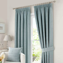 Chenille Evergreen Lined Pencil Pleat Curtains