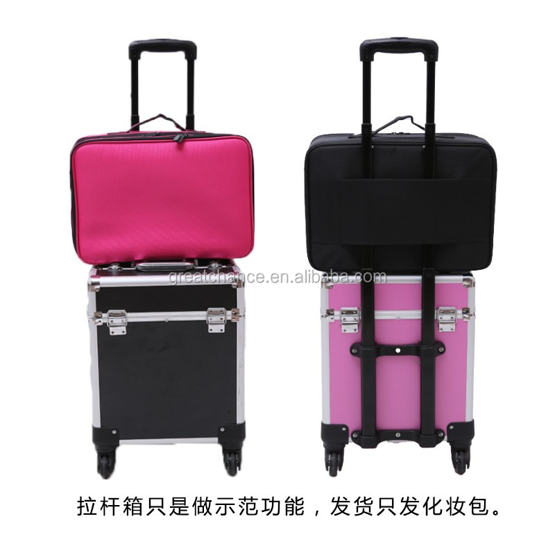 Soft makeup case - Pro Black Travel Cosmetic Case Bag Purse Organizer Makeup Pouch Box Two Floor