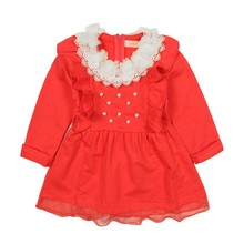 Best Selling Products Red Flower Kids Girls Dresses Nice Child Clothes Of Online