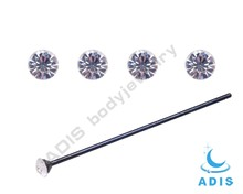 Anodized Black Long Nose Studs Fishtail With Large Crystal