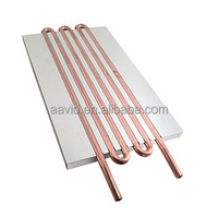 custom copper tube liquid cold plate, aluminum base soldered with heat pipe