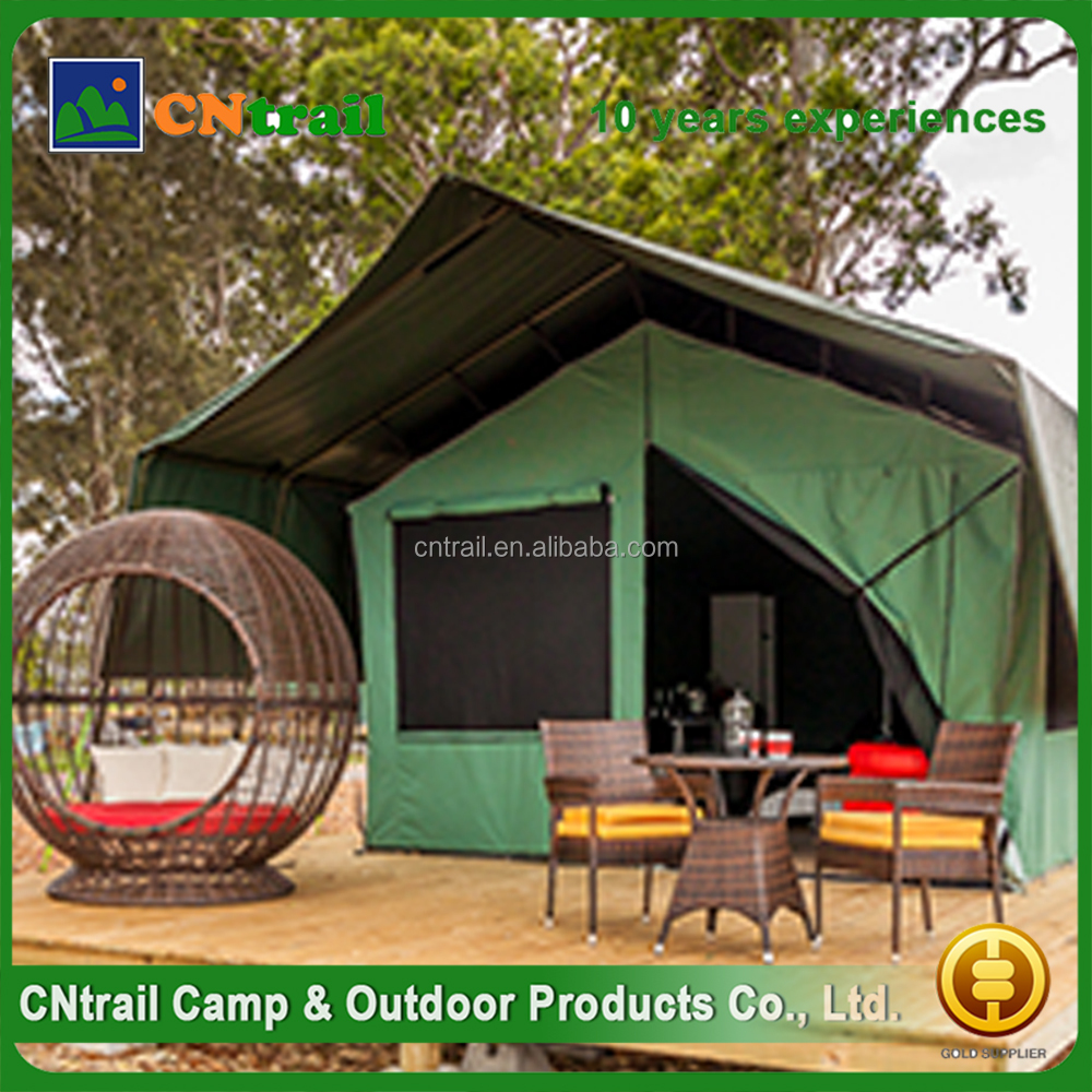 alibaba china supplier aluminium frame stock canvas safari tents with span 6m