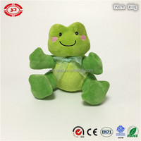 Green baby fancy sitting frog cute plush toy with ribbon