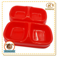 dog cat food container plastic pp double dish pet bowl