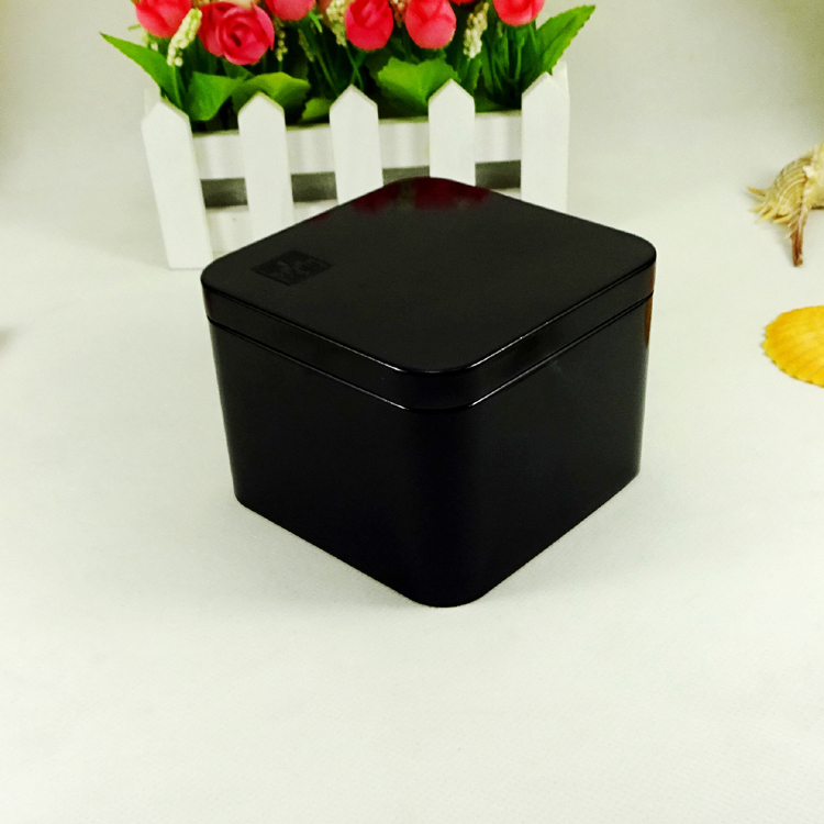 Black printing square shape small chocolate tin box