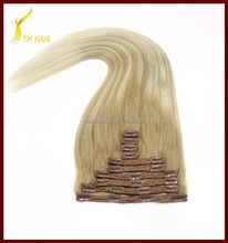 New products 22 inch 220 grams Full head double wefted ombre blend clip in remy human hair extension