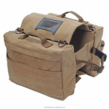Tourbon light weight durable hiking and camping dog harness carrier saddle canvas dog backpack