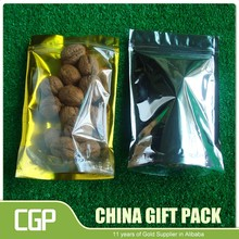 Customized one side clear foil three seal aluminum foil bags with hang hole