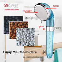 Leelongs PC chrome plated ECO negative ion shower head with Stainless steel face