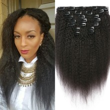 kinky straight clip in hair extensions 7pcs 120g natural black peruvian virgin yaki clip on human hair