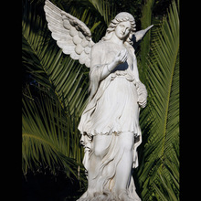 customized hand carved life size stone white marble angel statue with wings for home garden hotel decoration