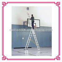 3 sections aluminum step foldable extension ladders with EN131, extension folding ladder