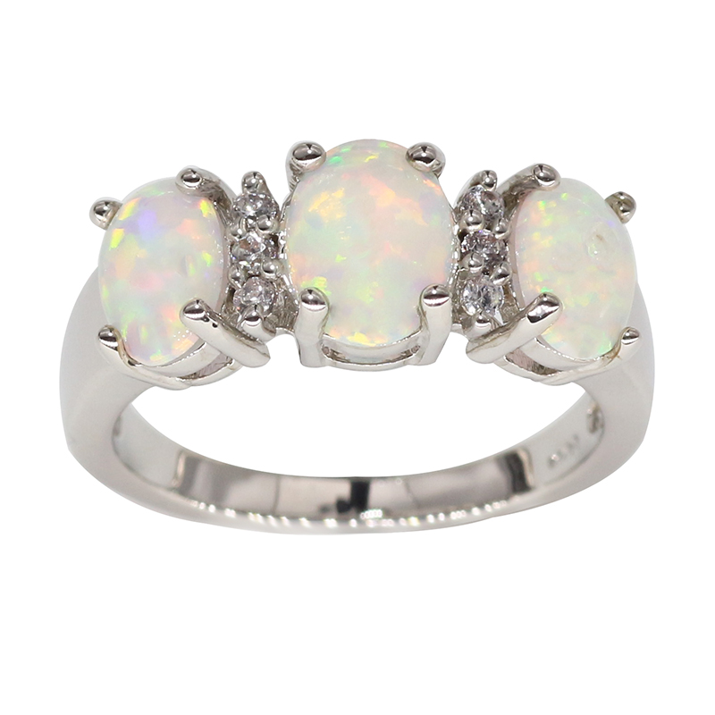 2017 Trendy fashion s925 jewelry elegant white opal stone finger rings for ladies